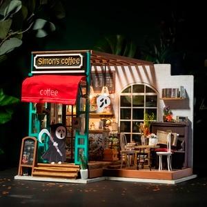 Image 2 - Robotime 아트 인형 집 DIY 미니 하우스 키트 가구와 미니 인형 집 어린이를위한 사이먼의 커피 완구 소녀의 선물 DG109