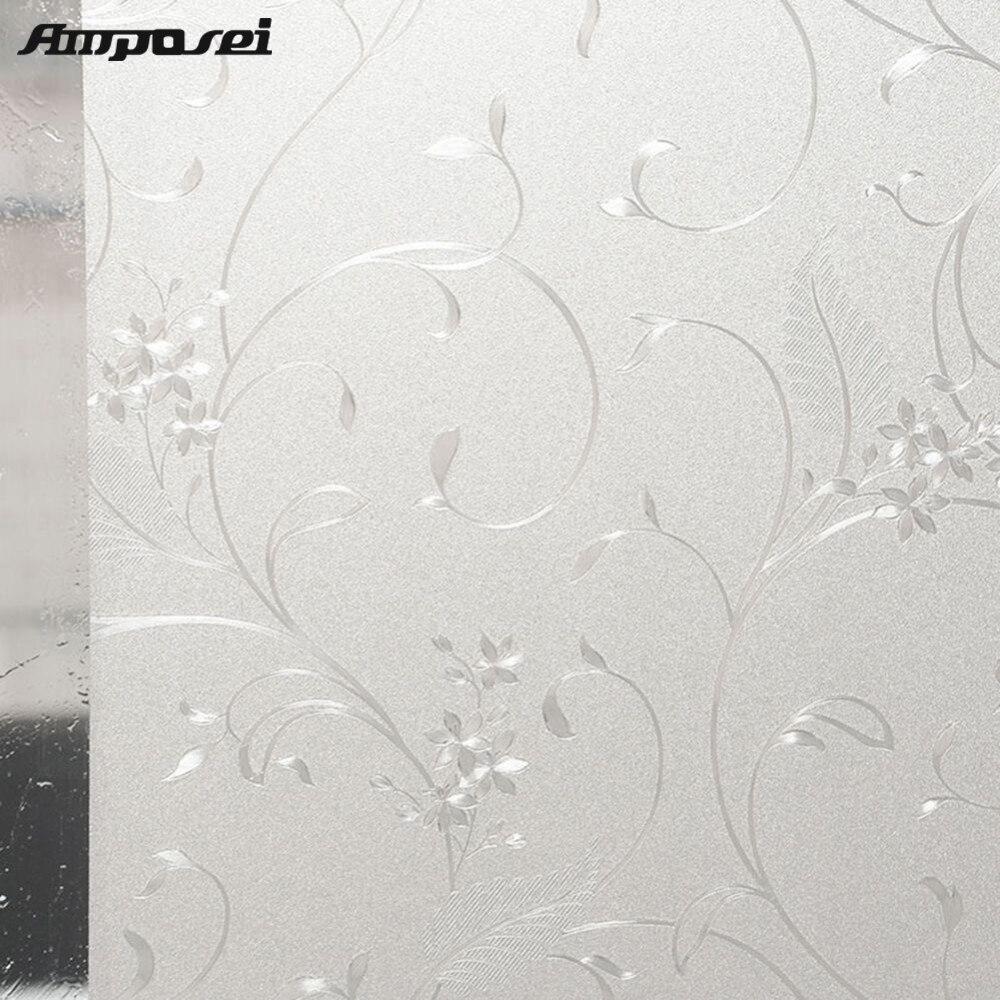 Leaf Pattern Scrub 45 200cm Matte Sunscreen Bathroom Living Room Windows Film Sticker 50