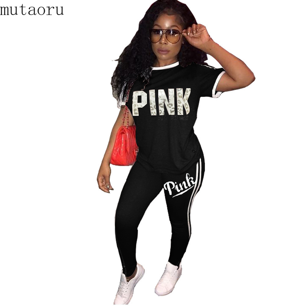Women Two Piece Set Female Sexy Tracksuit T Shirt Top Tee +Long Pants Ladies Short Sleeve Outfit Femme Sporting Suits Sweatsuit