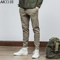 AK מועדון קרסול מכנסי טרנינג מותג Slim Fit מכנסיים באורך מלא קשור כותנה מכנסי טרנינג סקיני בציר מכנסי טרנינג גברים סגנון חדש 1852701