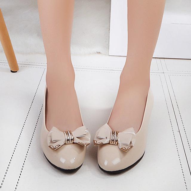 Zapatos de un solo Sobre El Nuevo Fondo de la Boca baja de tacón bajo de las mujeres Escoge Los Zapatos Zapatos Arco de la Manera Decorativa. SSH-518