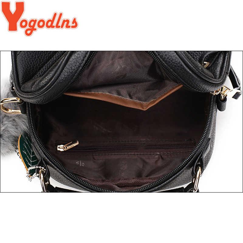 Yogodlns New Fashion Leather Female Top-handle Bags Small Women Crossbody Bag Hair Ball Shoulder Bag Cute Messenger Handbags