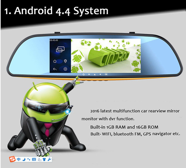 "7"" Android 4.4 Car Rear View Mirror Navi GPS +1080P DVR + Wifi +Bluetooth+Camera"