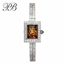 Women Watches Luxury PB Brand  Austrian Crystal Custom Display Waterproof Quartz Wrist Watches montre femme HL1184