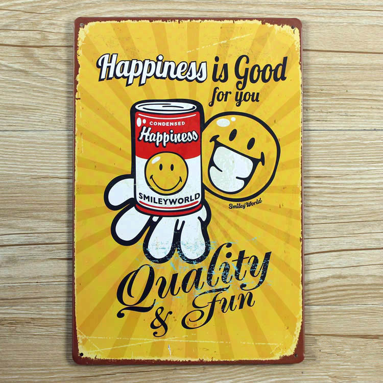 "RZXD-209 Vintage Metal painting ""Happiness is good for you"" wall painting art wall stickers crafts cafe bar decoration 20x30 CM"