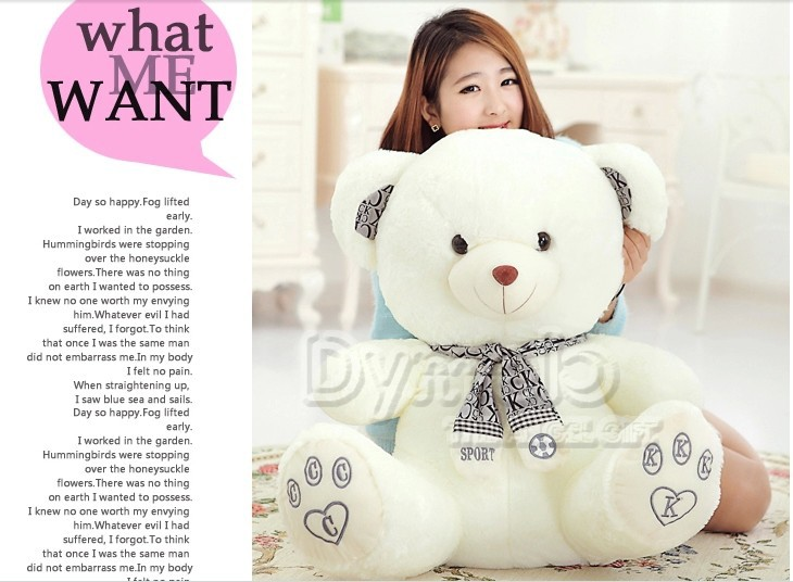 stuffed animal cute White teddy bear plush toy 80cm CK scarf bear doll about 31 inch toy p0806 fancytrader biggest in the world pluch bear toys real jumbo 134 340cm huge giant plush stuffed bear 2 sizes ft90451