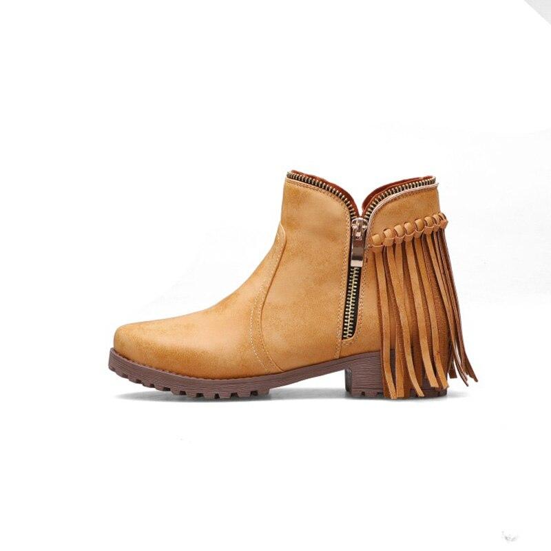 Rass ple 2019 New Fashion Tassel Ankle Boots Zipper Winter Warm Boots Bota Feminina Zapatos De Mujer Shoes Women(China)