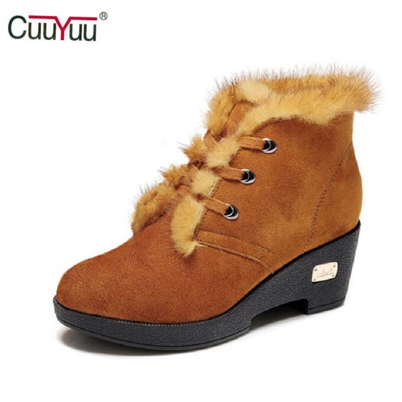 ФОТО CUUYUU Brand, Fashion Warm Plush Autumn Girls Genuine Leather Snow Boots For Women Winter Boots Square Heel shoes High Quality