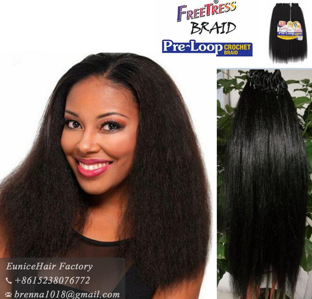 Freetress Pre Loop Crochet Braids Yaky Straight Equal Synthetic Hair Weave