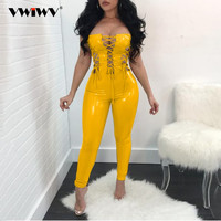 VWIWV Sexy PU Leather Hollow Out Bandage Lace UP Jumpsuit Women Off Shoulder Bodycon Women Rompers Backless Party Club Overalls