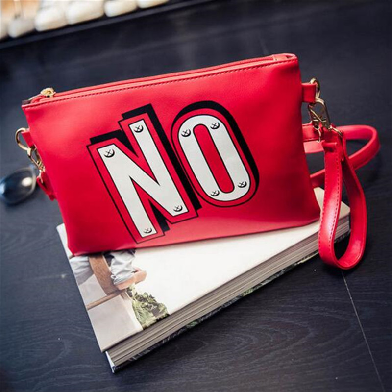 Fashion letter shoulder and crossbody bag cute YES NO printing envelope PU leather clutch double sides