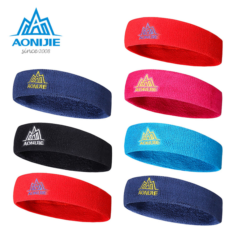 AONIJIE 1Pcs Cotton Elastics Women Men Sport Sweat Sweatband Headband Yoga Gym Stretch Head Band Hair elastics and elastomerics
