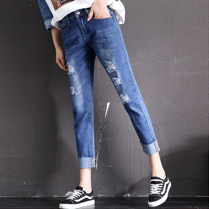 Vintage Casual Jeans 2020 Woman Autumn Elastic High Waist Straight Pants Loose Boyfriend Jeans for Women Plus Size