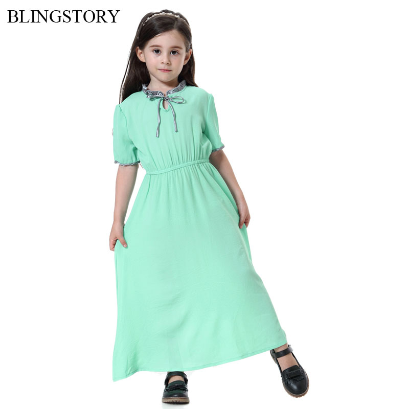 BLINGSTORY New Fashion Girls Dresses Children's Wear Kaftan Abaya Islamic Long Muslim Dress Dropship KKD612