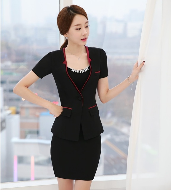 New Elegant Black Professional Business Suits With Jackets And Mini Skirt  Formal OL Styles Ladies Blazers 5e7ba106c2b5