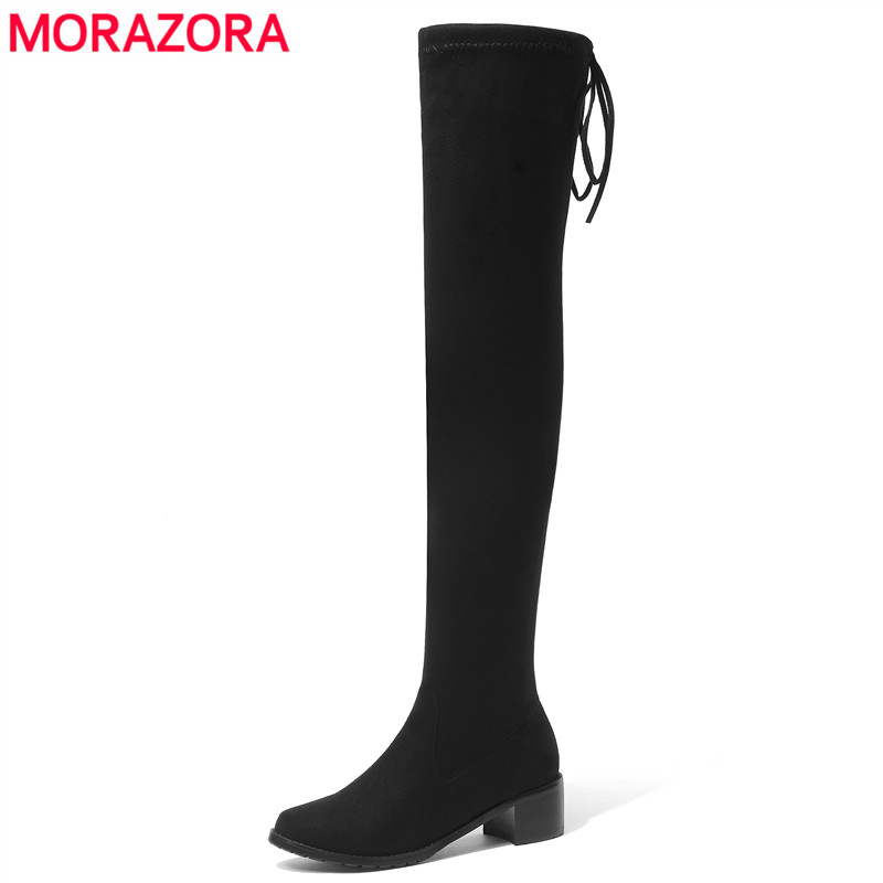 MORAZORA 2018 New Faux Suede Thigh High Boots Women Square Heel Stretch Slim Lace Up Ladies Over The Knee Boots Autumn Shoes vallkin 2018 lace up women boots rhinestone square high heel over the knee boots stretch fabric wedding ladies boots size 34 43