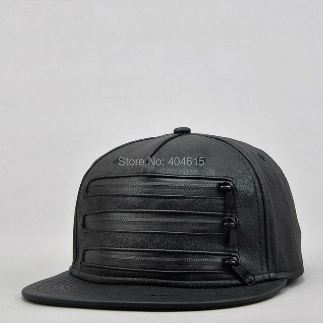 Wholesale women and men winter outdoor fashion flat hiphop PU leather three zippers black snapback caps