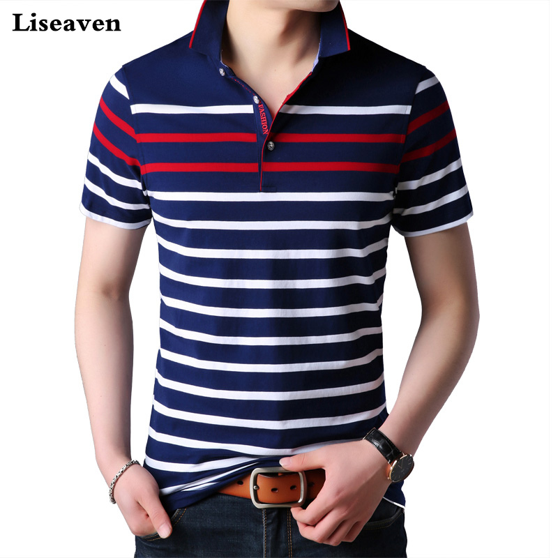 Liseaven Men   Polo   Shirt Short Sleeve Striped   Polos   Male Shirt Tops&Tees Brand Clothing Men Camisas