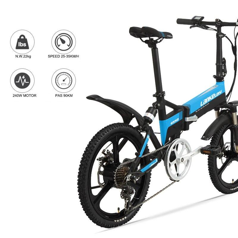 20 pouces vélo de montagne électrique pli cadre 48V240W moteur léger en alliage d'aluminium vélo électrique avant arrière Suspension ebi