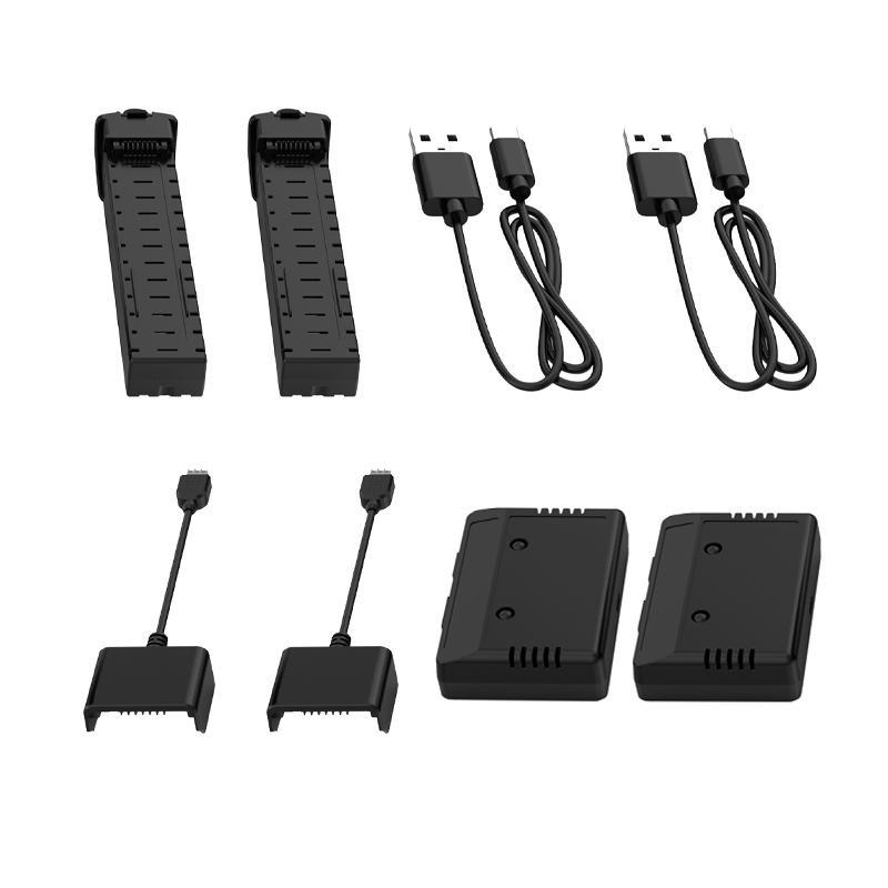 [EU USA CA Stock] Holy Stone 2 PCS 2800mAh 7.4V Modular Rechargeable 2 USB Cable 2 Adapter Box 2 Equilibrium filling for HS700 Parts & Accessories     - title=