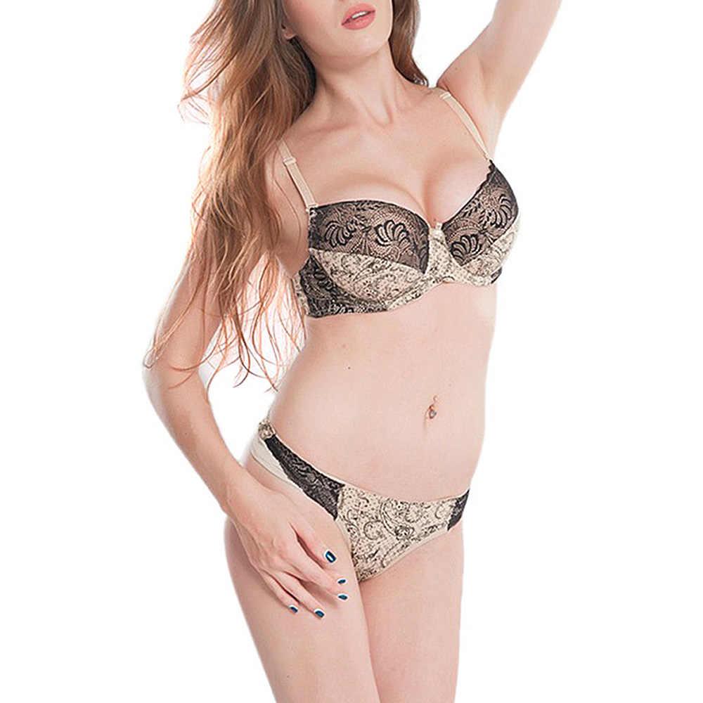 women bras sets sexy lingerie embroidery print lace bralette underwire panty plus size 6 colors 34 36 38 40 42 B C D DD E