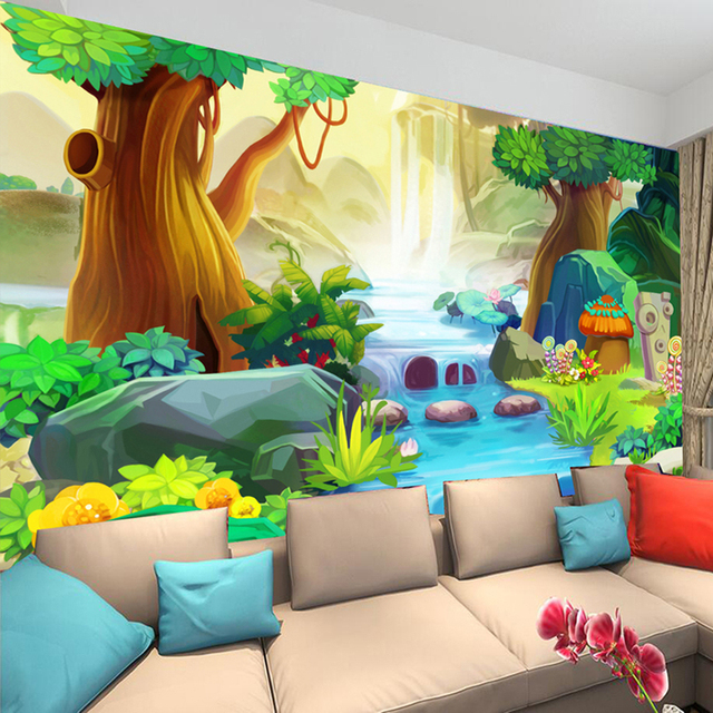 US 4040 40% OFFCustom 40D Mural Wall Paper Cartoon Big Tree Forest River Wall Mural Kids Room Bedroom Backdrop Photo Wallpaper Decor Papel Tapizin Inspiration Kids Bedroom Wall Murals
