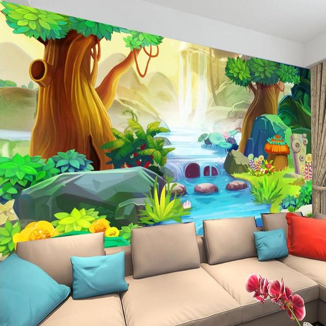 Custom Mural Wall Paper Cartoon Tree Forest River Kids Room Bedroom Backdrop Photo Wallpaper Decor Papel Tapiz