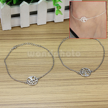 2pcs Women's Foot Ankle Bracelet Silver Tone Tree Of Life Charm Chain Anklet
