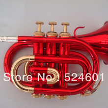 Красивое красное золото Bb покетная ТРУБА Профессиональный латунные инструменты для студенты труба с мундштуком