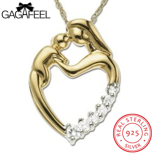 e0fa24706bff GAGAFEEL 100% Real 925 Sterling Silver Pendant For Necklace Love Mom s Gift Forever  Heart Design