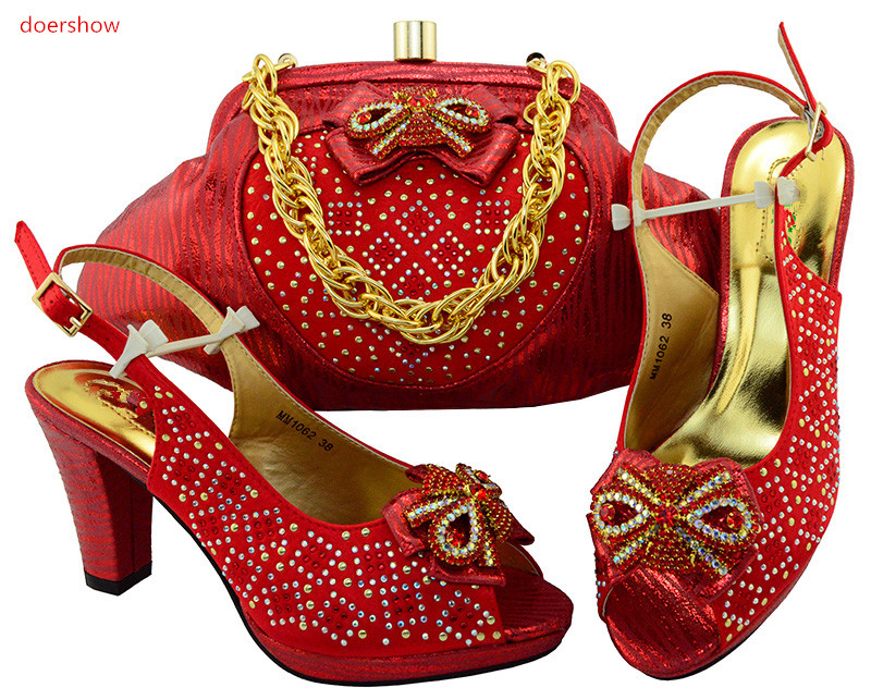doershow High Quality African Shoe And Bag Set To Match red Color 2018 Italian Shoes With Matching Bags Set Size 38-43 SIU1-29 high quality nigeria wedding shoes italian shoes and bags set to match african shoe and matching bag set with stones mm1024