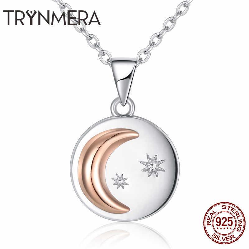 Mặt trăng amp Ngôi Sao Đích Thực 925 Sterling Silver Bạc Mặt Trăng và Ngôi Sao Đồng Xu Vàng Pave Mặt Dây Chuyền Vòng Cổ cho Phụ Nữ S925 đồ trang sức Mỹ