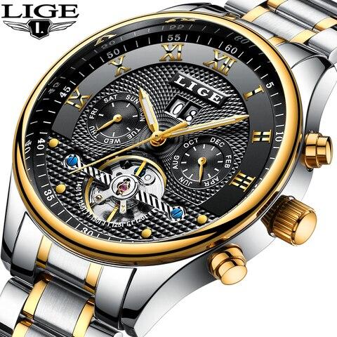 Relógios à Prova Moda de Luxo Lige Relógios Masculinos Máquinas Automáticas Negócios Dwaterproof Água Relógio Casual Masculino