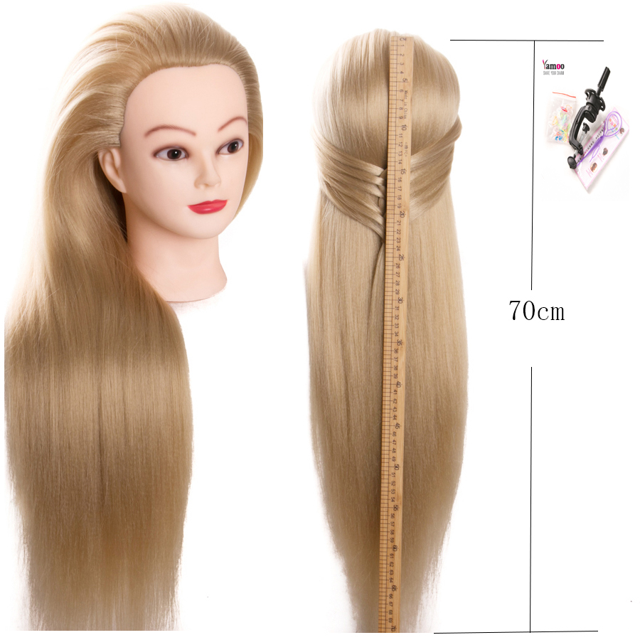 us $23.55 36% off|training mannequin head with hair 70cm synthetic fiber cosmetology hairdressing training head dolls manikin heads hairstyles on