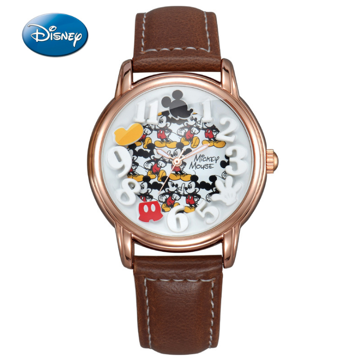 Kinderuhren Disney Marke Mickey Kinder Uhr Mode Lässig Uhr Teen Uhr Quarz Armbanduhren Leder Uhr Mädchen Junge Uhr