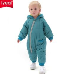 سالوبيت للأطفال عالي الجودة من IYEAL زي شتوي سميك من القطن للأولاد ملابس دافئة للبنات جمبسوت للأطفال ملابس خارجية للأطفال