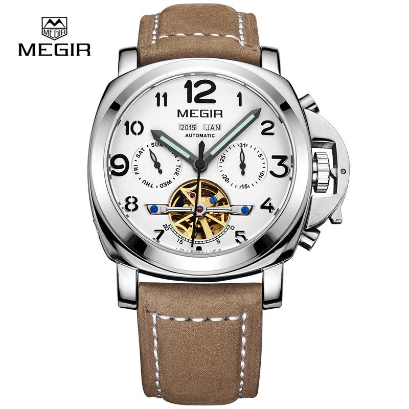 Prix pour Megir hommes de luxe armée marque mécanique montres mode relogio masculino montre - bracelet en cuir homme squelette heures homme 3206AG