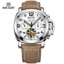 Megir hombres de lujo de la marca del ejército de moda los relojes mecánicos relogio masculino reloj del cuero del hombre esqueleto hora para hombre 3206AG