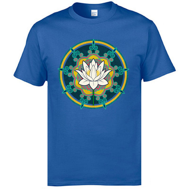 Summer Lotus O-Neck Top T-shirts April FOOL DAY Tops Tees Short Sleeve for Men Retro Cotton Personalized T Shirt Lotus blue