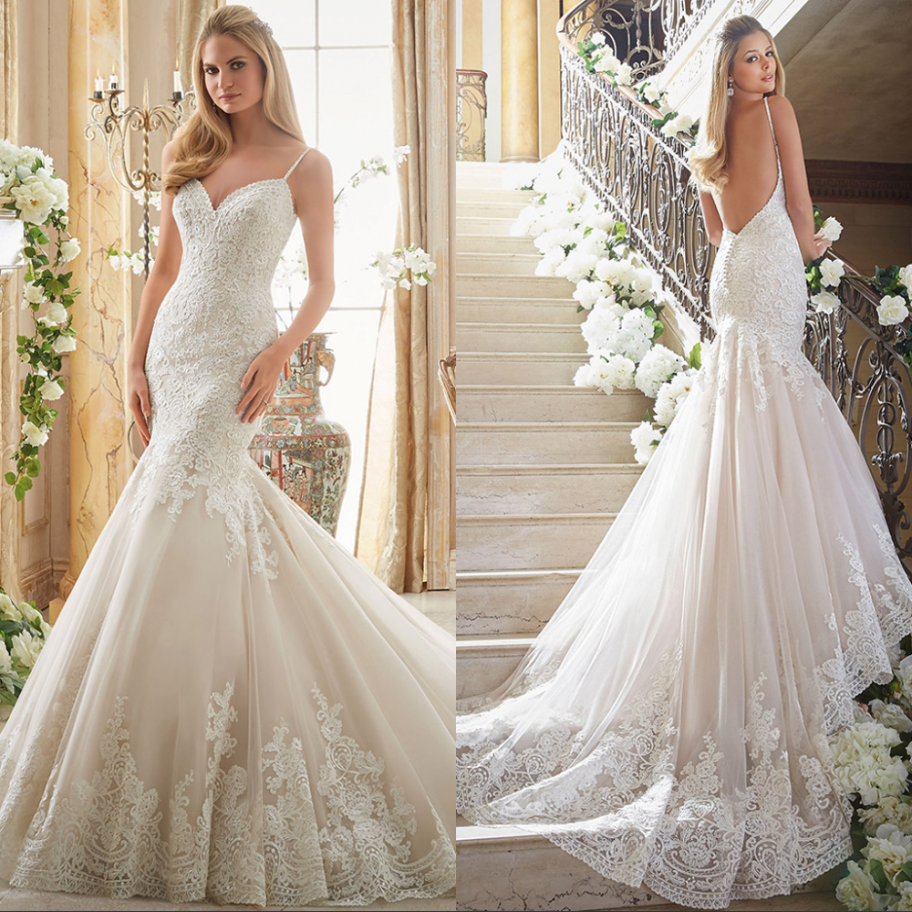 Vestido de noiva Backless Mermaid Wedding Dress Sleeveless Luxury Lace 2019 Bridal Gown Bride Dress Court
