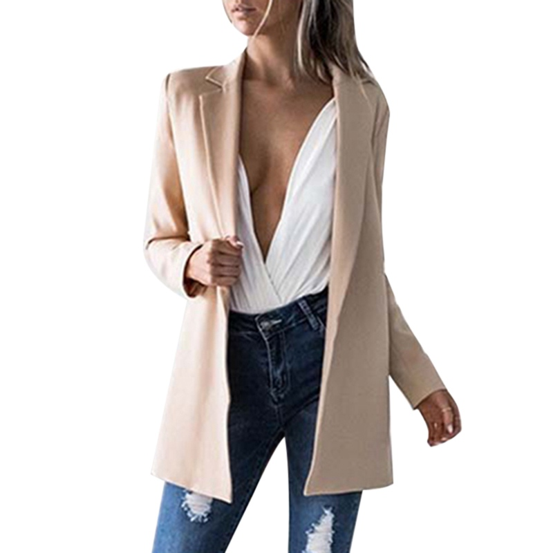 Lasperal 2017 New Autumn Winter Women Slim Fitness Coat Jackets Notched Office Work Ol Style Open Front Formal Outfits Coats Xl In Basic From