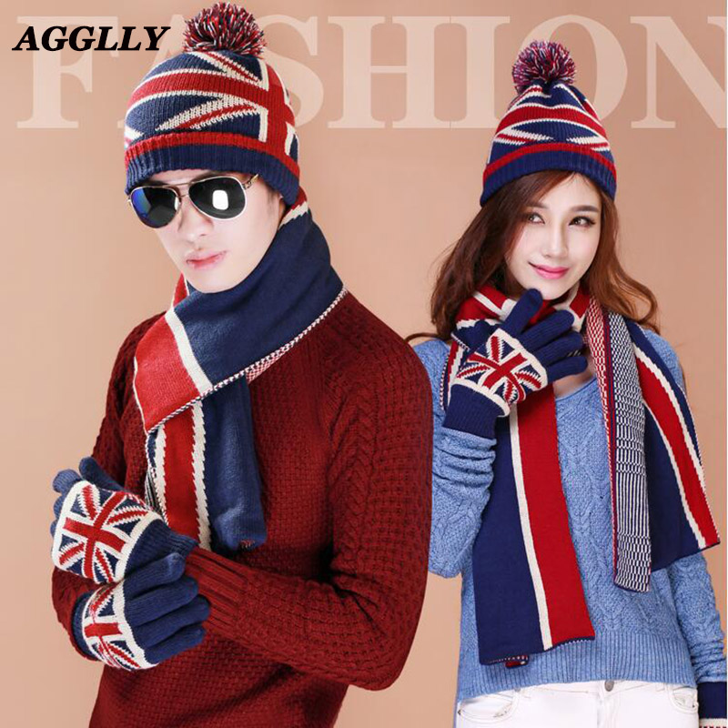 Hot Christmas Gift USA UK Flag Design Knit Windproof Hat Scarf Gloves Sets Women Men Thick Wool Lining Winter 3pcs Warm Set A38