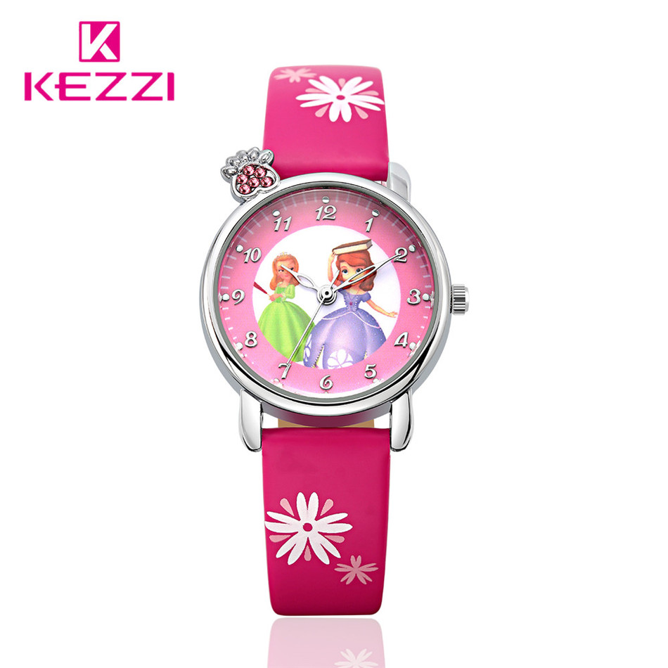 New Rhinestone Crown Design Girls And Dinosaur Cartoon Watches For Gift Band Kezzi Waterproof Leather Kids Wristwatch