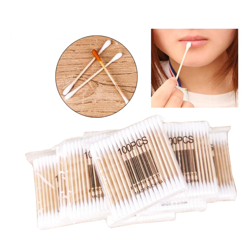 200pcs pack Cosmetic Cotton Swab Double Headed Cotton Makeup Wood Sticks Nose Ears Cleaning Tools font