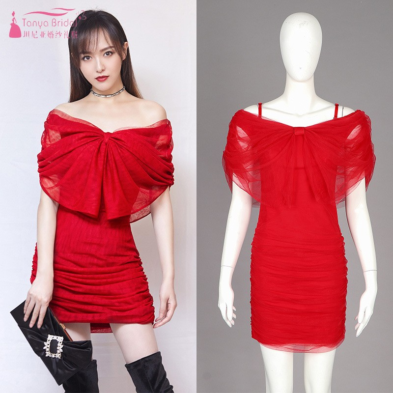 V Neck Off The Shoulder Sexy   Cocktail     Dresses   Red Bow Pleats Short Mini Straight Homecoming   Dress   Party Gown DQG765