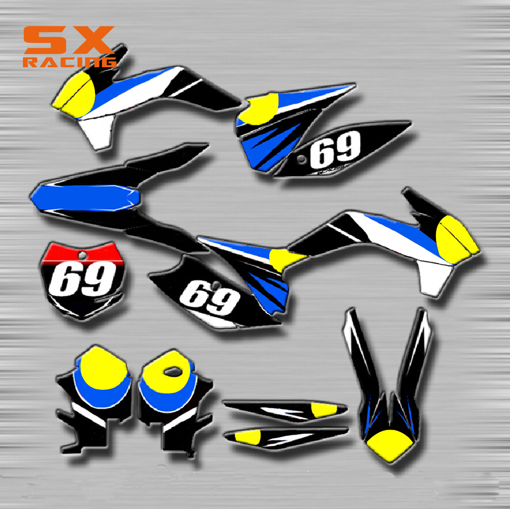 Motorcycle Decals Customize Pattern Custom Made Stickers Set For KTM SX SXF 125 150 250 350 450 EXC XC SXS SMR XCF MX Drit Bike motorcycle front rider seat leather cover for ktm 125 200 390 duke