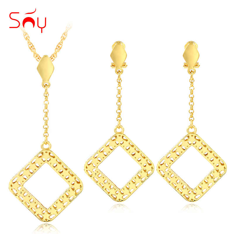Sunny Jewelry Trendy Jewelry Sets For Women Necklace Earrings Pendant Square Dubai Jewelry Sets For Party Wedding Anniversary