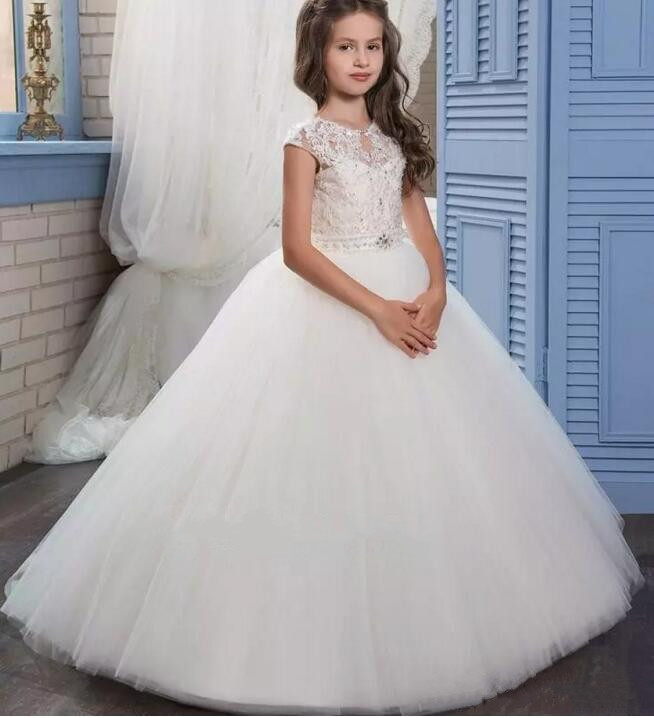 2017 Pretty Princess White Ball Gown Flower Girl Dress Sweep Train Lace Beads Girls First Communion Dress with Beaded Sash disney princess train case