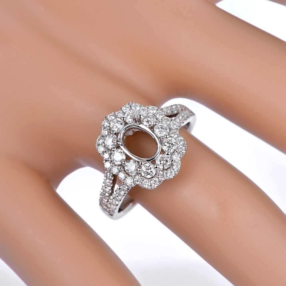 Caimao 14K White Gold Oval 5x7mm 0.93ct Natural Diamonds Engagement - Perhiasan bagus - Foto 6