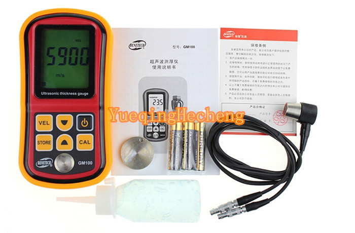 Electrical Equipment GM100 Ultrasonic Wall Thickness Gauge Meter Tester Steel PVC Digital Testing as840 ultrasonic thickness gauge 1 2 225mm 1000 9999m s smart sensor portable thickness meter tester